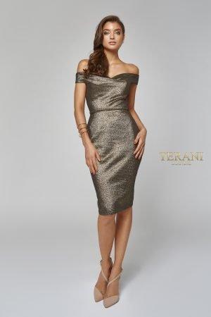 Metallic off Shoulder Cocktail Dress 1921C0024