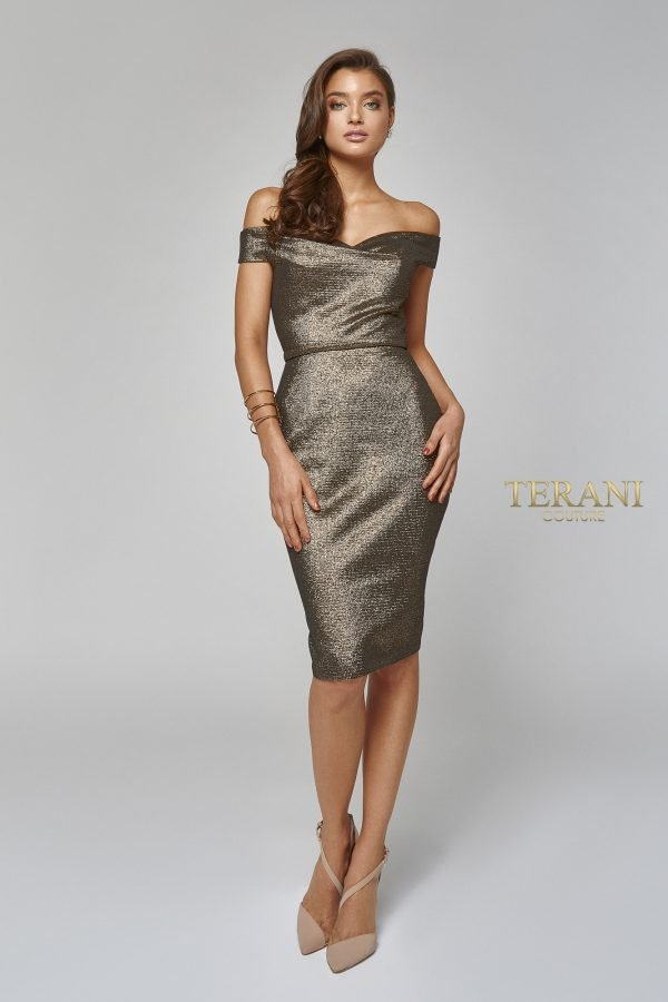 Metallic off shoulder cocktail dress, 1921C0024.