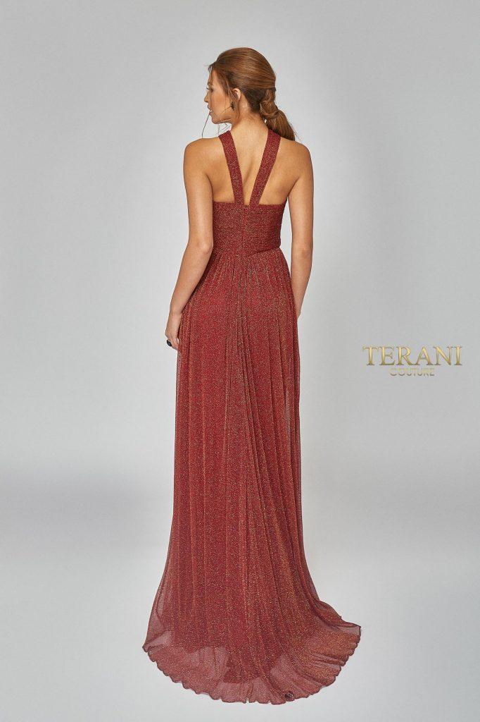 Crystal Pleated Metallic Knit Halter Gown. Back Dress - 1921E0094