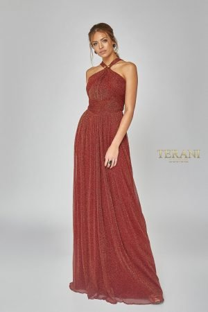 Crystal Pleated Metallic Knit Halter Gown – 1921E0094