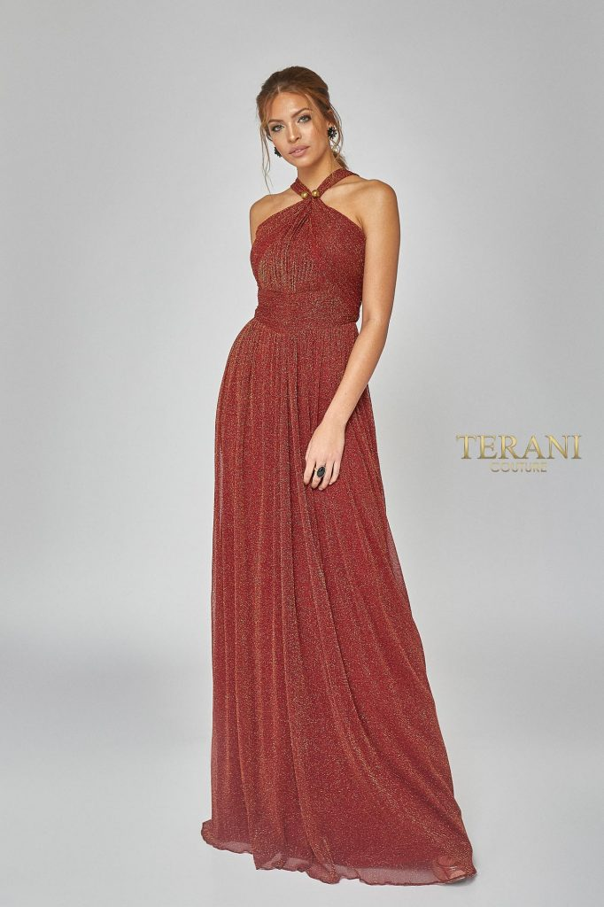 Crystal Pleated Metallic Knit Halter Gown. Front Dress - 1921E0094