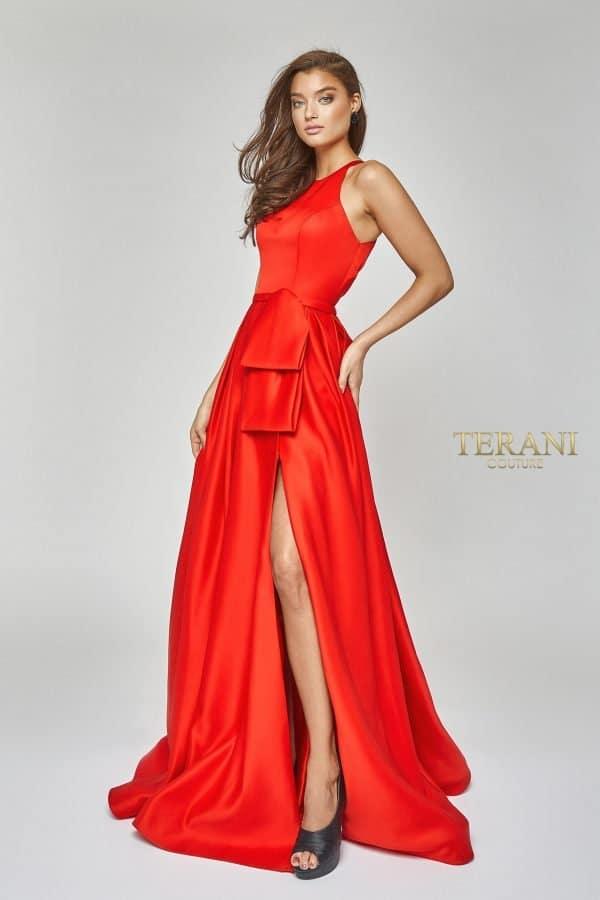Halter neck satin gown with peplum - 1921E0102