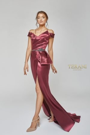 Hi Gloss Satin Draped Gown with Beaded Waist – 1921E0107