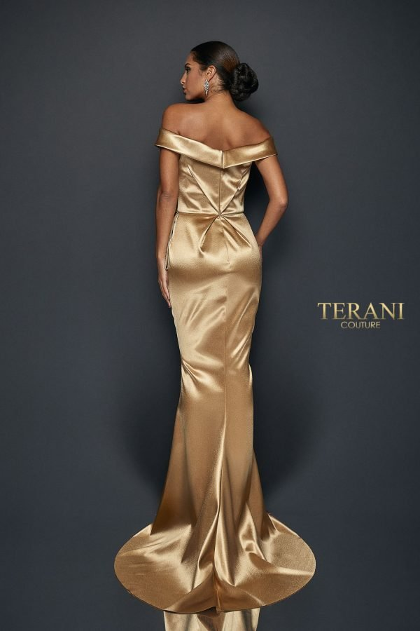 Hi Gloss Satin Draped Gown with Beaded Waist - 1921E0107