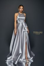 Shimmering Satin Halter Neck Gown with Sash - 1921E0108