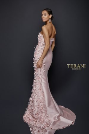 Delicate 3d Fabric Petal Accented Strapless Gown – 1921E0115