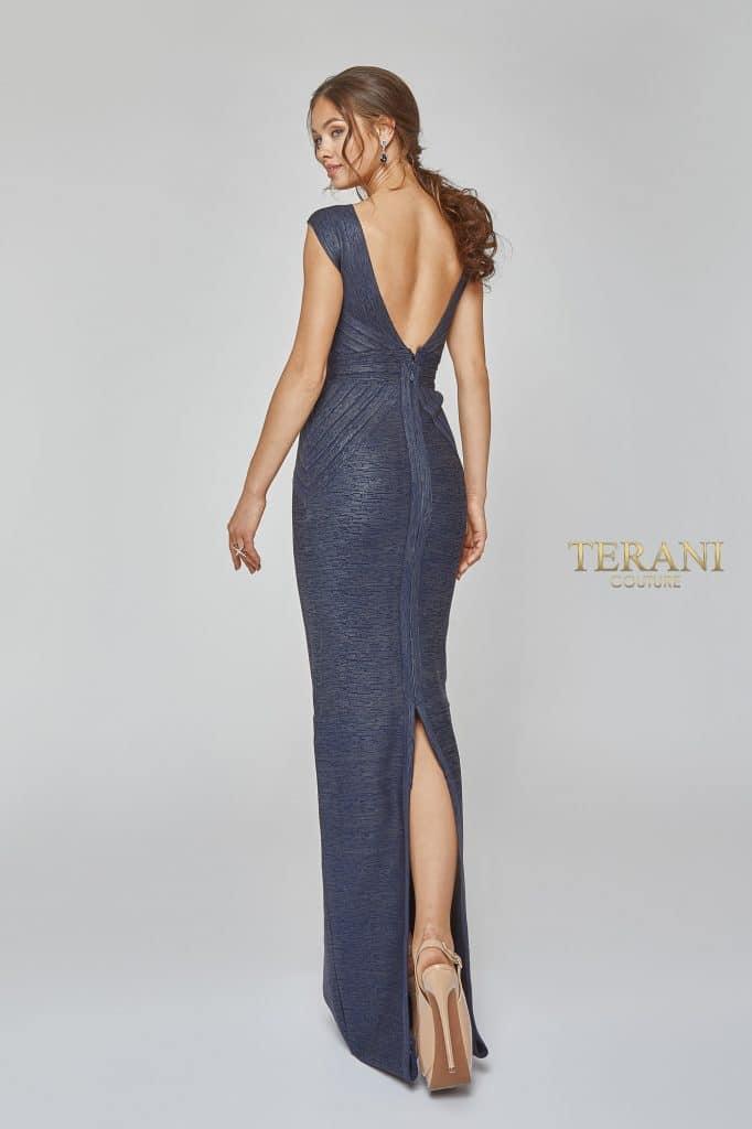 Bandage Knit Deep V Neckline Evening Gown - 1921E0119