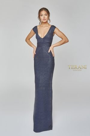 Bandage Knit Deep V Neckline Evening Gown – 1921E0119