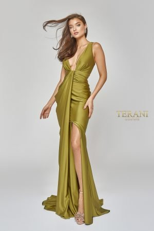Sexy-Side Draped Grecian Gown with Slit – 1921E0121