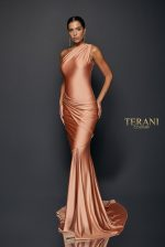 Goddess Draped One Shoulder Jersey Gown - 1921E0123