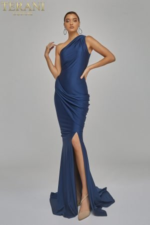 Goddess Draped One Shoulder Jersey Gown – 1921E0123