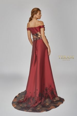 Stunning Asymmetrical Gown with Over-Skirt – 1921E0132