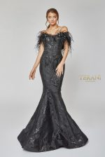 Striking Flower and Feather Strapless Gown - 1921E0136