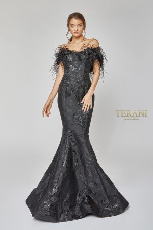Striking Flower and Feather Strapless Evening Gown – 1921E0136