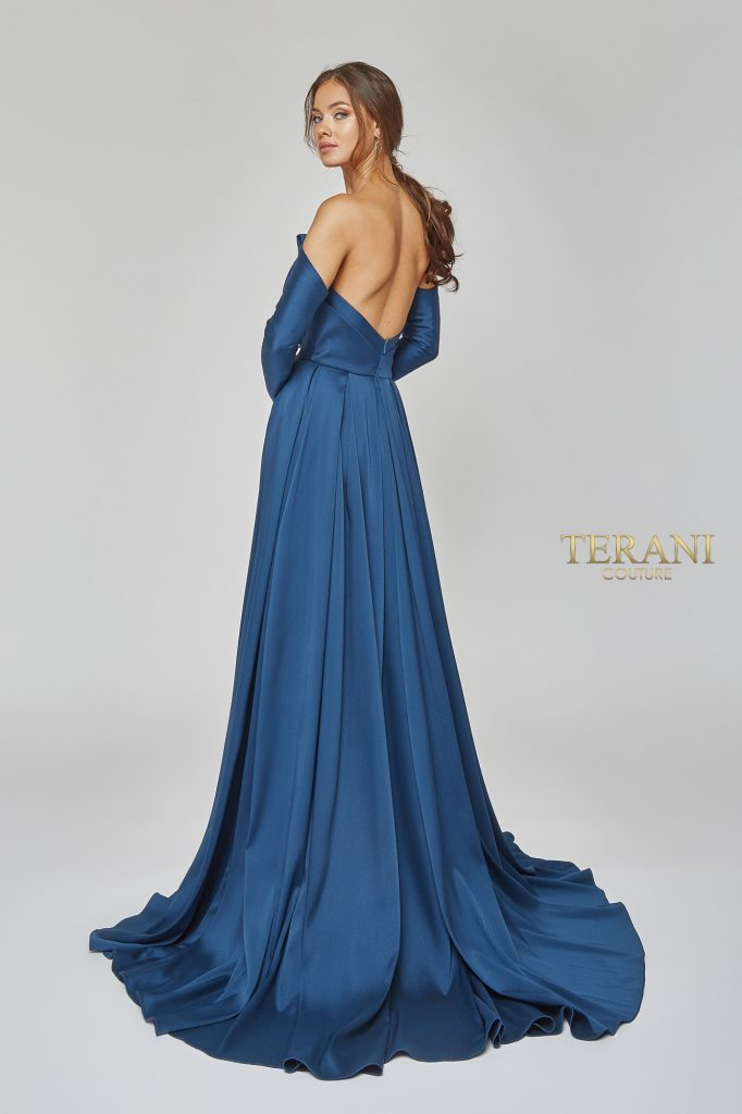 Strapless Gown with Wrap Skirt and Separate Sleeves - 1921E0143