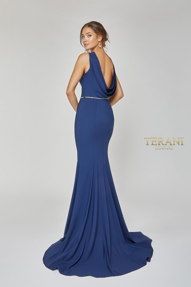Triple cowl back gown with beaded waist, 1921E0145.