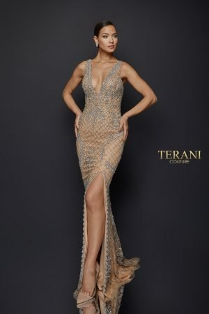 Sexy Crystal Beaded V-Neck Gown – 1921GL0609