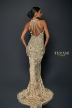 Striped pattern beaded gown with slit