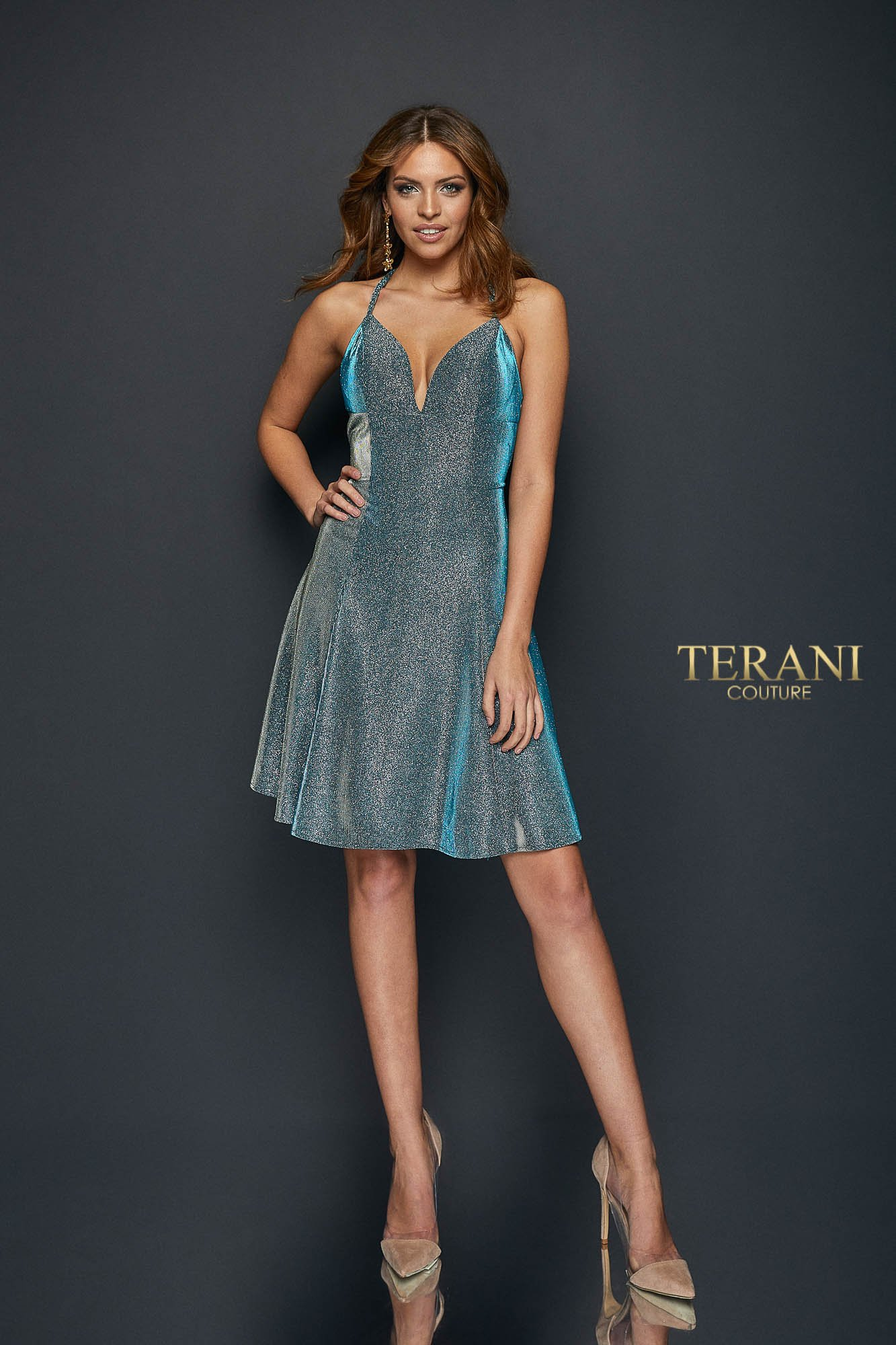 Metallic Knit Fit and Flare Short Dress - 1921H0336