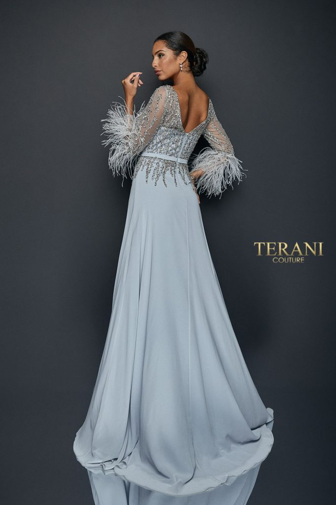 Chiffon skirt gown with feather accented sleeves - 1921M0473
