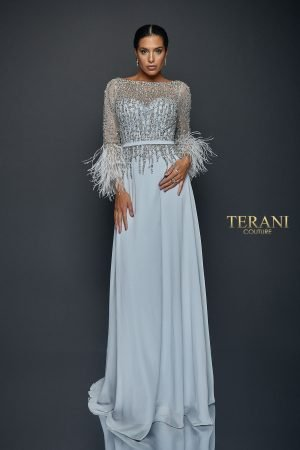 Chiffon Skirt Gown with Feather Accented Sleeves – 1921M0473