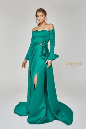 Off Shoulder Wrap Over-Skirt Gown – 1921M0484