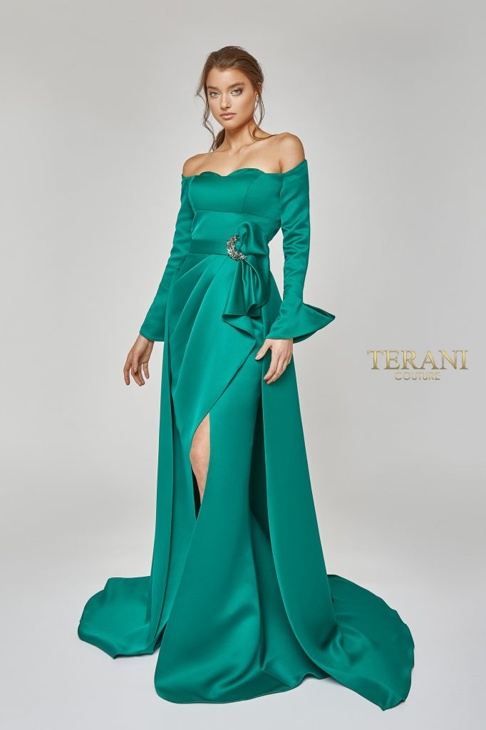 Off Shoulder Wrap Over-Skirt Gown - 1921M0484