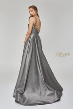Asymmetric neckline gown with column skirt and overskirt, 1921M0486.