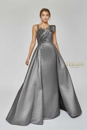 Asymmetric Neckline Gown with Column Skirt and Overskirt – 1921M0486