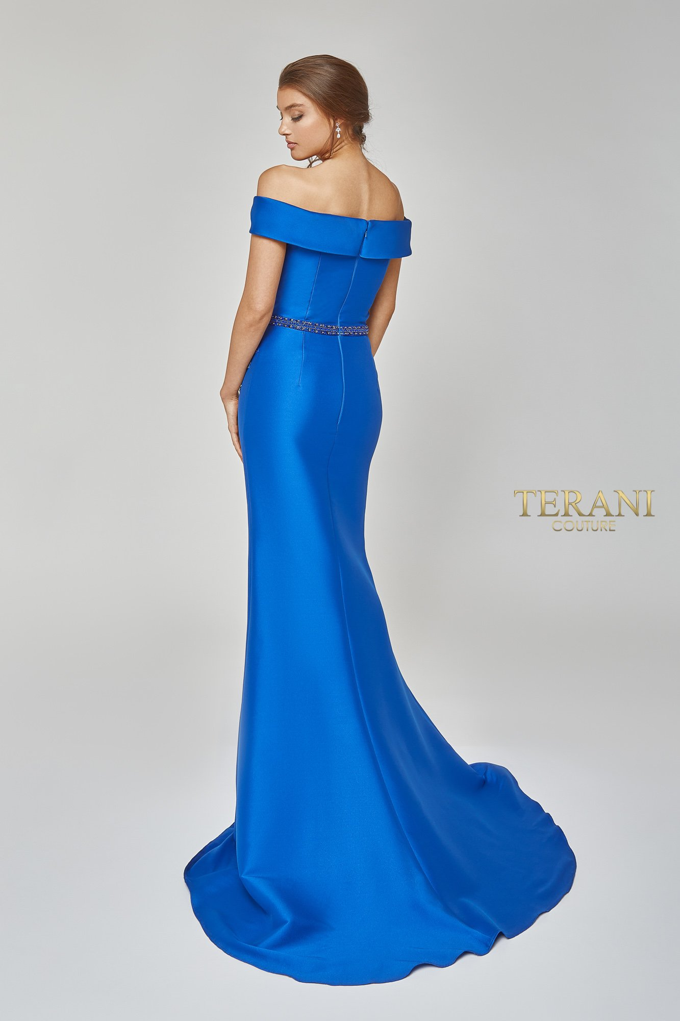 Dramatic off Shoulder Beaded Gown - 1921M0510
