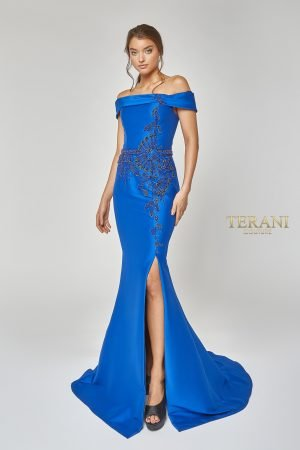 Dramatic off Shoulder Beaded Gown – 1921M0510