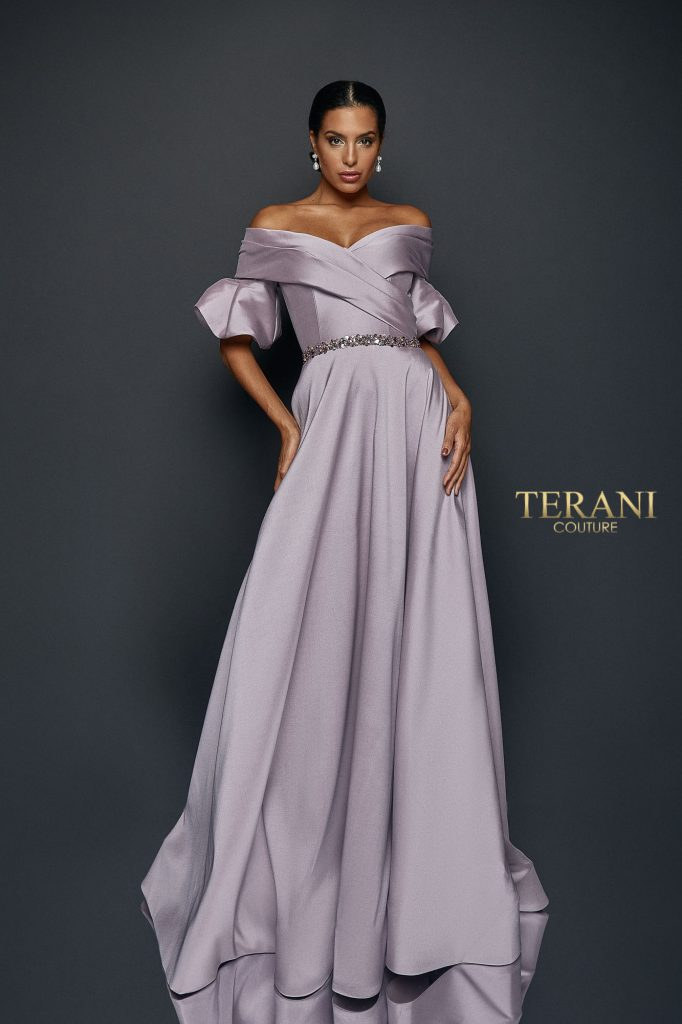 Draped off Shoulder Puff Sleeve Ball Gown - 1921M0516