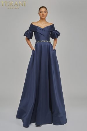 Draped off Shoulder Puff Sleeve Ball Gown – 1921M0516