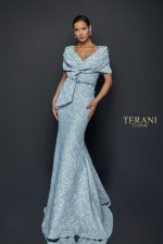 Draped off Shoulder Stretch Jacquard Gown - 1921M0726