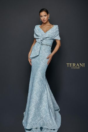 Draped off Shoulder Stretch Jacquard Gown – 1921M0726