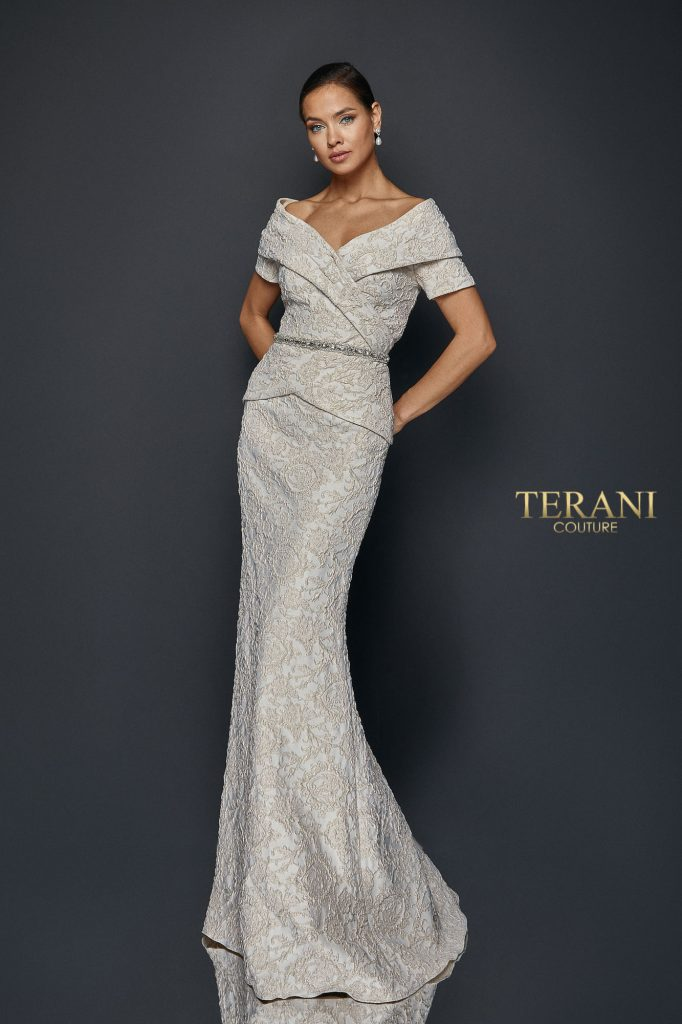 Pleated mock two piece gown - 1921M0727
