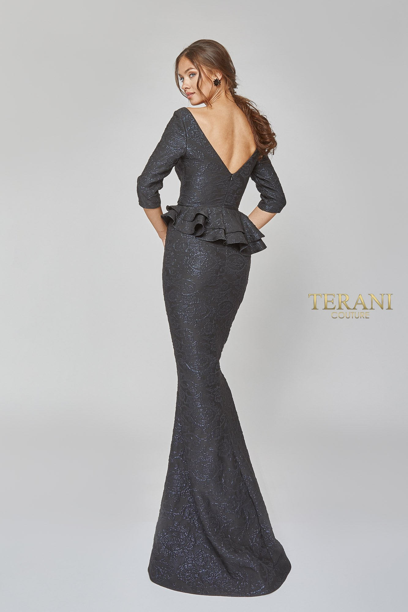 Mother of the Bride Boat Neck Stretch Flower Detail Gown - 1921m0729