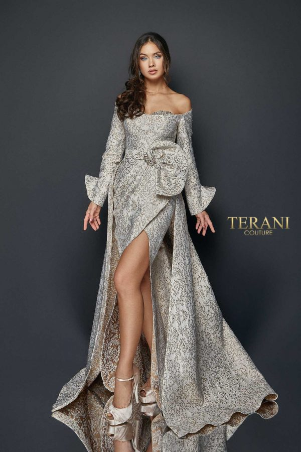 Long sleeve off shoulder metallic wrap skirt gown, 1921M0735.