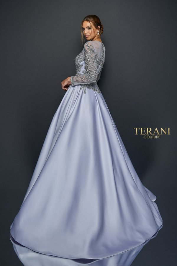 Regal long sleeve satin ball gown, 1921M0736.
