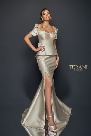 3D Fitted Mock Two Piece Gown – 1921M0745