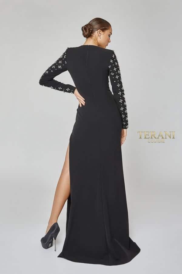 Long Sleeve Geometric Beaded Dress - 1922E0202