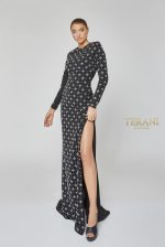 Long Sleeve Geometric Beaded Dress - 1922E0202