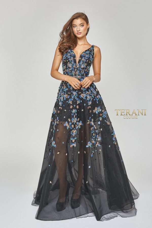 Deep V neck sheer long sequin gown - 1922E0205