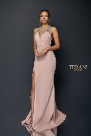 Crystal Halter Neck Floor Length Gown with Slit | 1922E0224