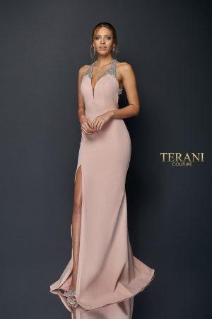 Crystal Halter Neck Floor Length Gown with Slit   1922E0224