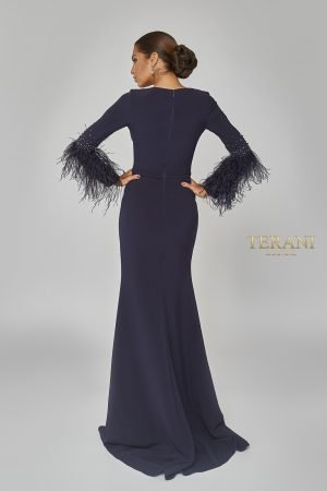 Long Feathers Sleeve Fitted Gown – 1922E0233