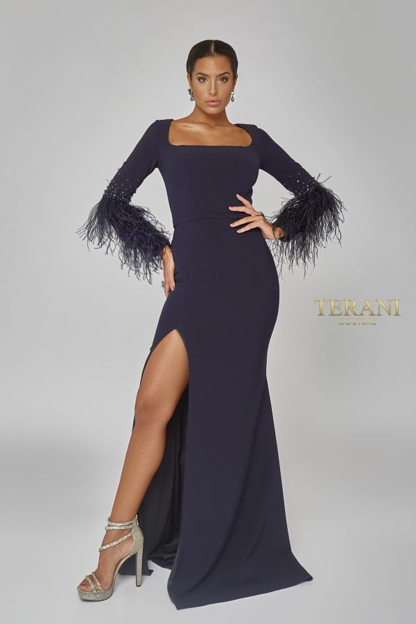 Long Feather Sleeve Fitted Gown - 1922E0233