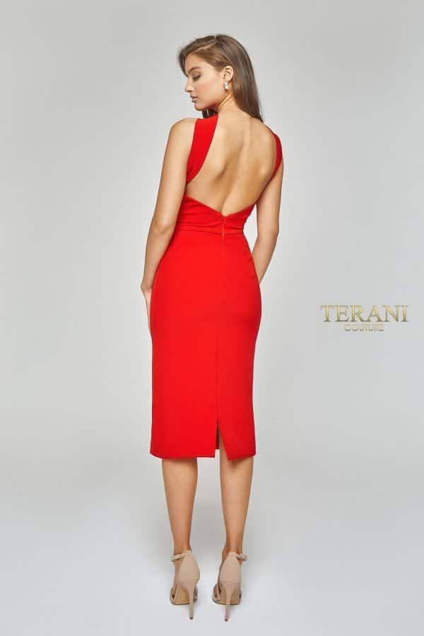 Knee length cocktail dress with twist knot neckline - 1922E0234.