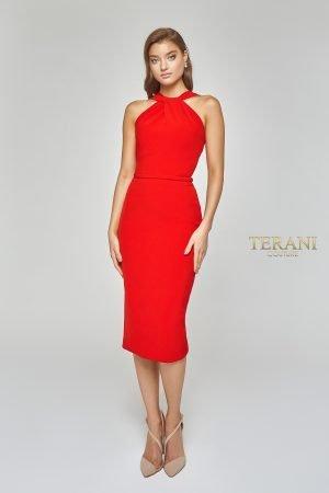 Knee Length Cocktail Dress with Twist Knot Neckline – 1922E0234