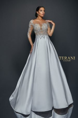 Sheer Illusion Style Long Ball Gown 1922E0247
